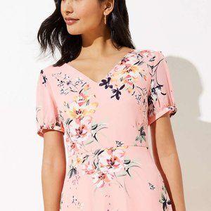 LOFT Floral Smocked Back Midi Dress